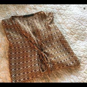 HARLOWE & GRAHAM Brown Blouse Diamond Pattern
